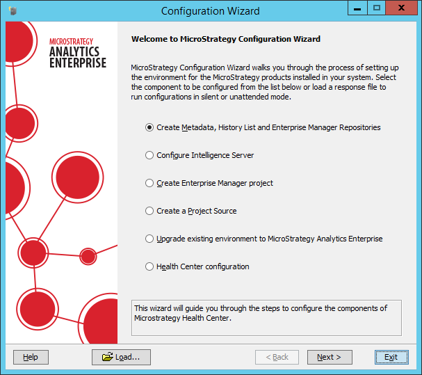 Screenshot MicroStrategy Configuration Wizard
