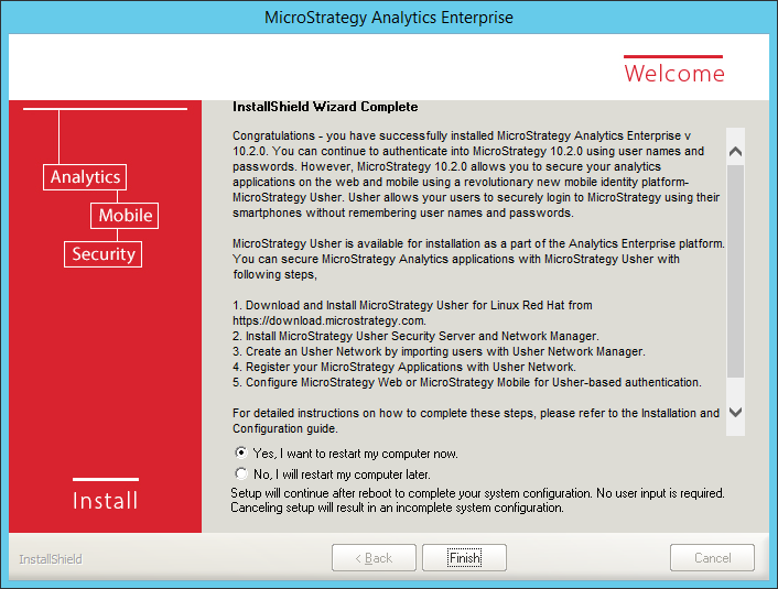Screenshot MicroStrategy InstallShield Wizard Complete