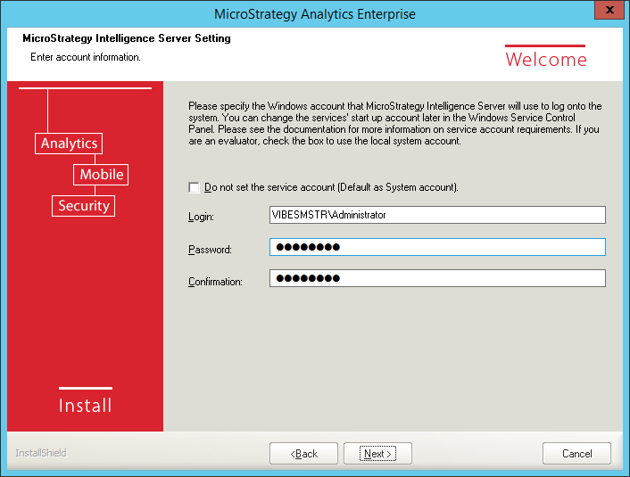 Screenshot MicroStrategy Intelligence Server Setting