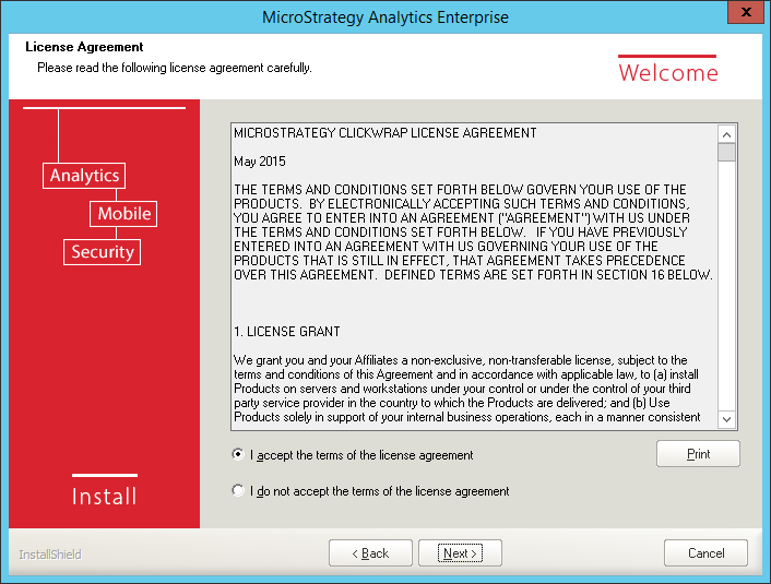 Screenshot MicroStrategy License Agreement