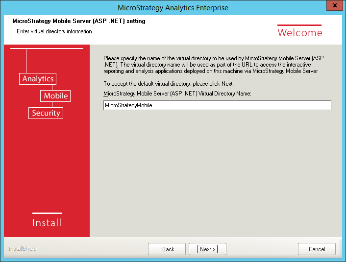 Screenshot MicroStrategy Mobile Server ASP NET Setting