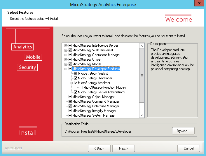 Screenshot MicroStrategy Select Features MicroStrategy Desktop Products
