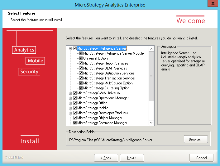 Screenshot MicroStrategy Select Features MicroStrategy Intelligence Server