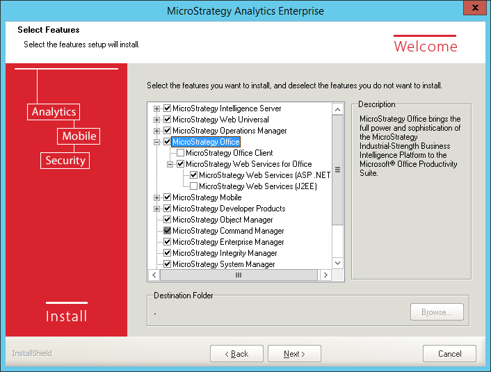Screenshot MicroStrategy Select Features MicroStrategy Office