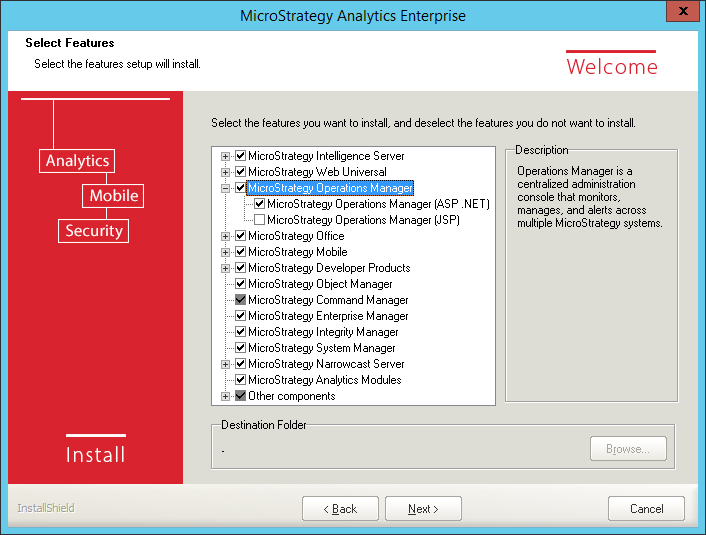 Screenshot MicroStrategy Select Features MicroStrategy Operations Manager