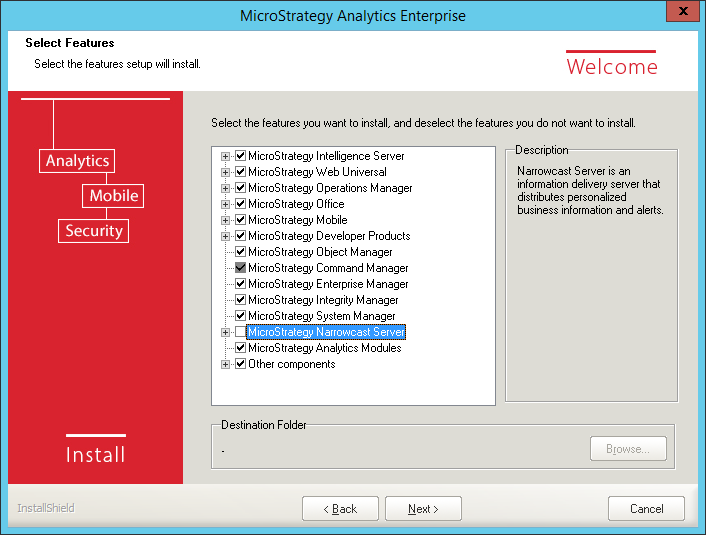 Screenshot MicroStrategy Select Features MicroStrategy Other Components