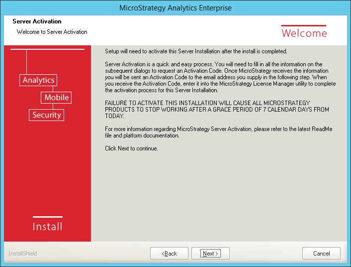 Screenshot MicroStrategy Server Activation