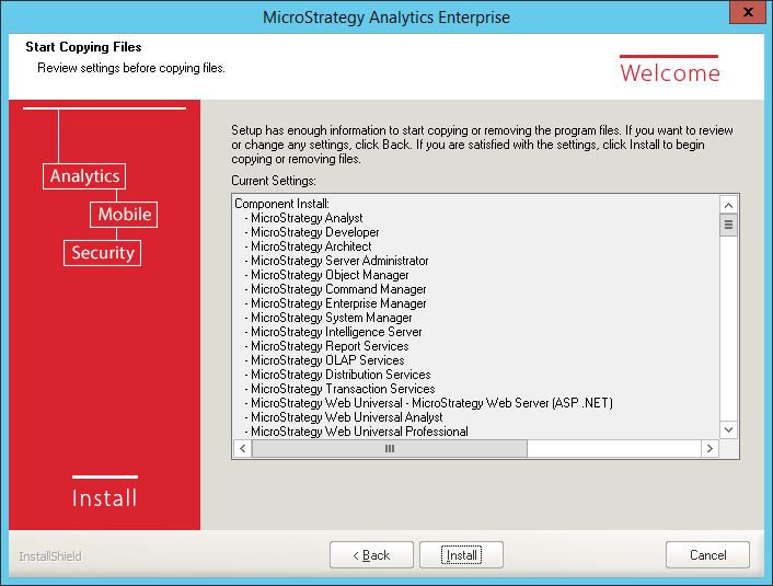 Screenshot MicroStrategy Start Copying Files