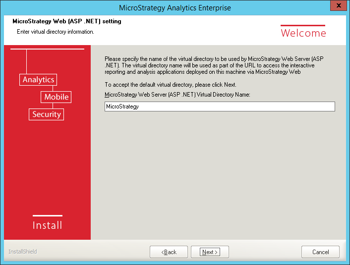 Screenshot MicroStrategy Web ASP NET Setting