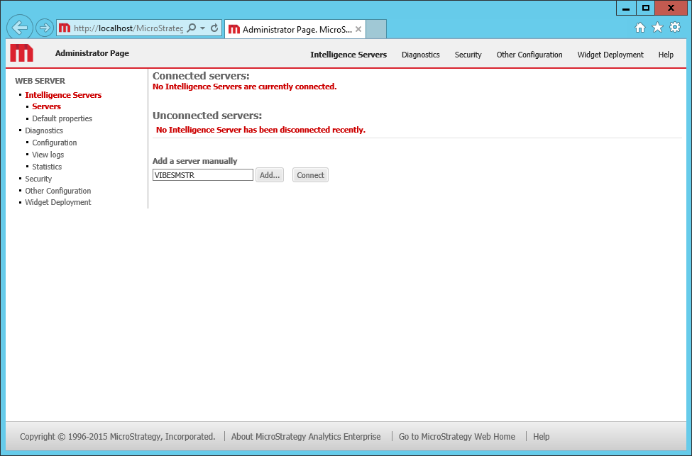 Screenshot MicroStrategy Web Administrator Page