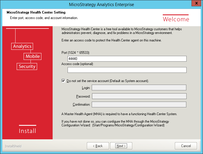 Screenshot MicroStrategy Health Center Setting