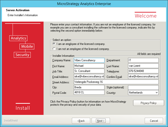 Screenshot MicroStrategy Installers Information
