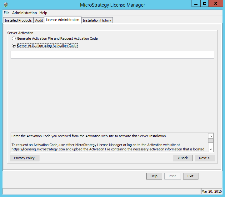 Screenshot MicroStrategy License Administration