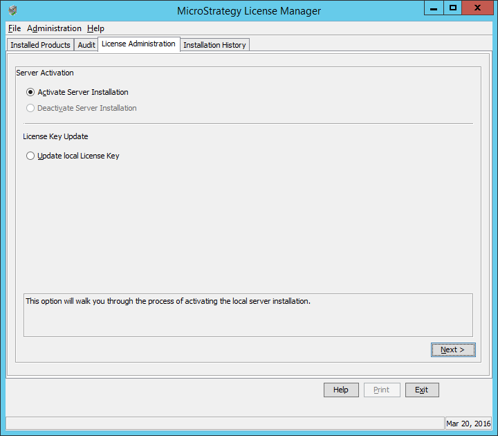 Screenshot MicroStrategy License Manager