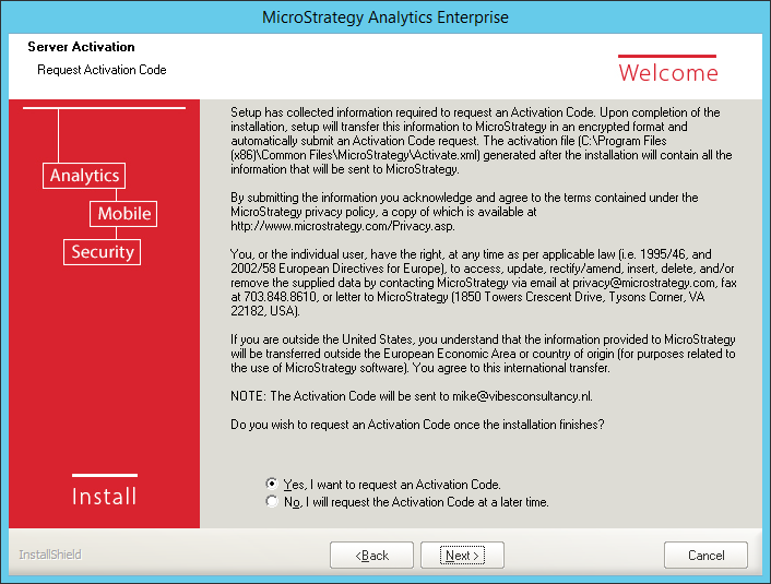Screenshot MicroStrategy Request Activation Code
