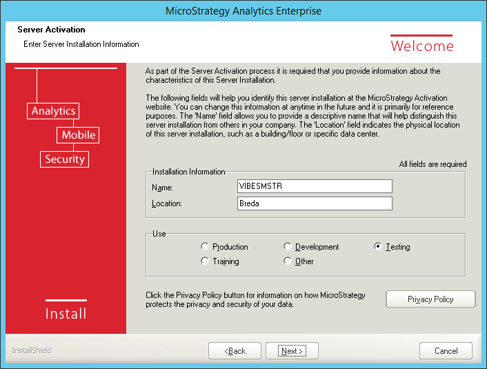 Screenshot MicroStrategy Server Installation Information