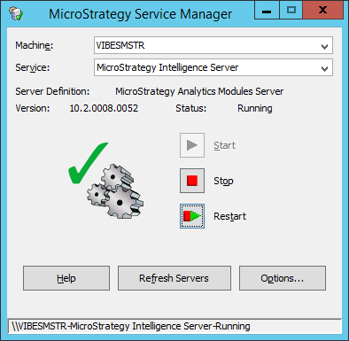 Screenshot MicroStrategy Service Manager