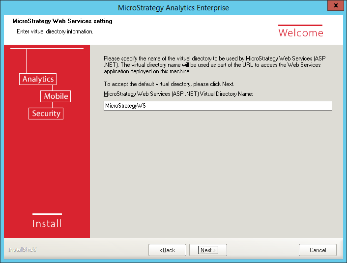 Screenshot MicroStrategy Web Services Setting