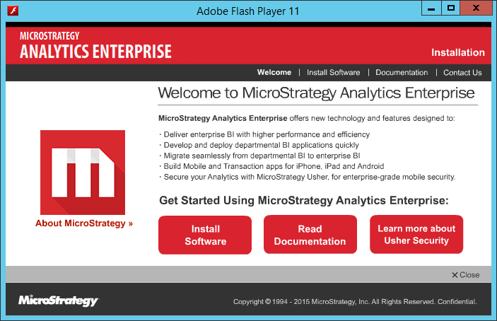 Screenshot Welcome To MicroStrategy Analytics Enterprise